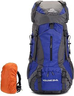 Mochila de Senderismo 60L Mochila de Montañismo de Nailon con Estructura Interna y Capa para Lluvia Alpinismo, Camping, Senderismo, Deportes, Viajes, Trekking
