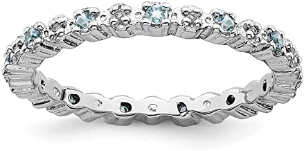 925 Sterling Silver Blue Aquamarine Diamond Band Ring Stackable Gemstone Birthstone March Fine Jewelry For Women Gift Set