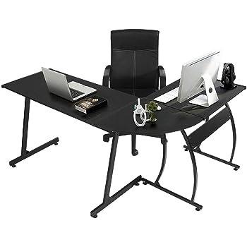 GreenForest L Shaped Gaming Computer Desk 58.1'',L-Shape Corner Gaming Table,Writing Studying PC Laptop Workstation for Home Office Bedroom,Black