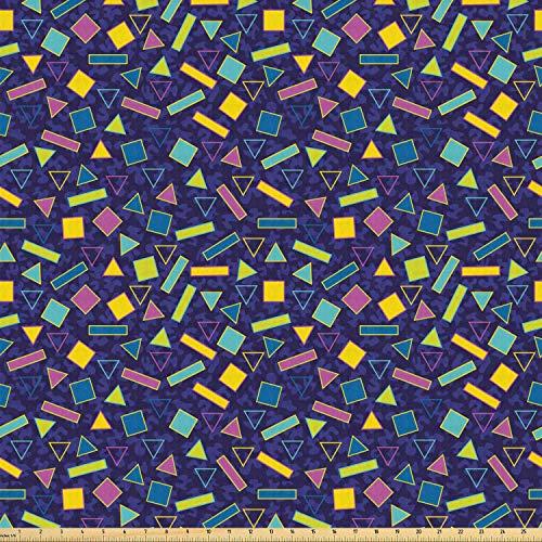 ABAKUHAUS funky Stof per strekkende meter, Retro jaren '80 Memphis Fashion, Stretch Gebreide Stof voor Kleding Naaien en Kunstnijverheid, 2 m, Veelkleurig