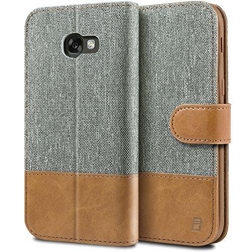 BEZ Handyhülle für Samsung Galaxy A5 2017 Hülle, Tasche Kompatibel für Samsung Galaxy A5 2017, Handytasche Schutzhülle [Stoff & PU Leder] mit Kreditkartenhaltern, Grau