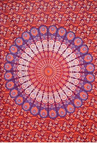 indien Maroon Paon Mandala Tapisserie, indien Décoration murale à suspendre, hippie indienne Tapisserie, Bohemian Mur à suspendre, Twin 139,7 x 215,9 cm