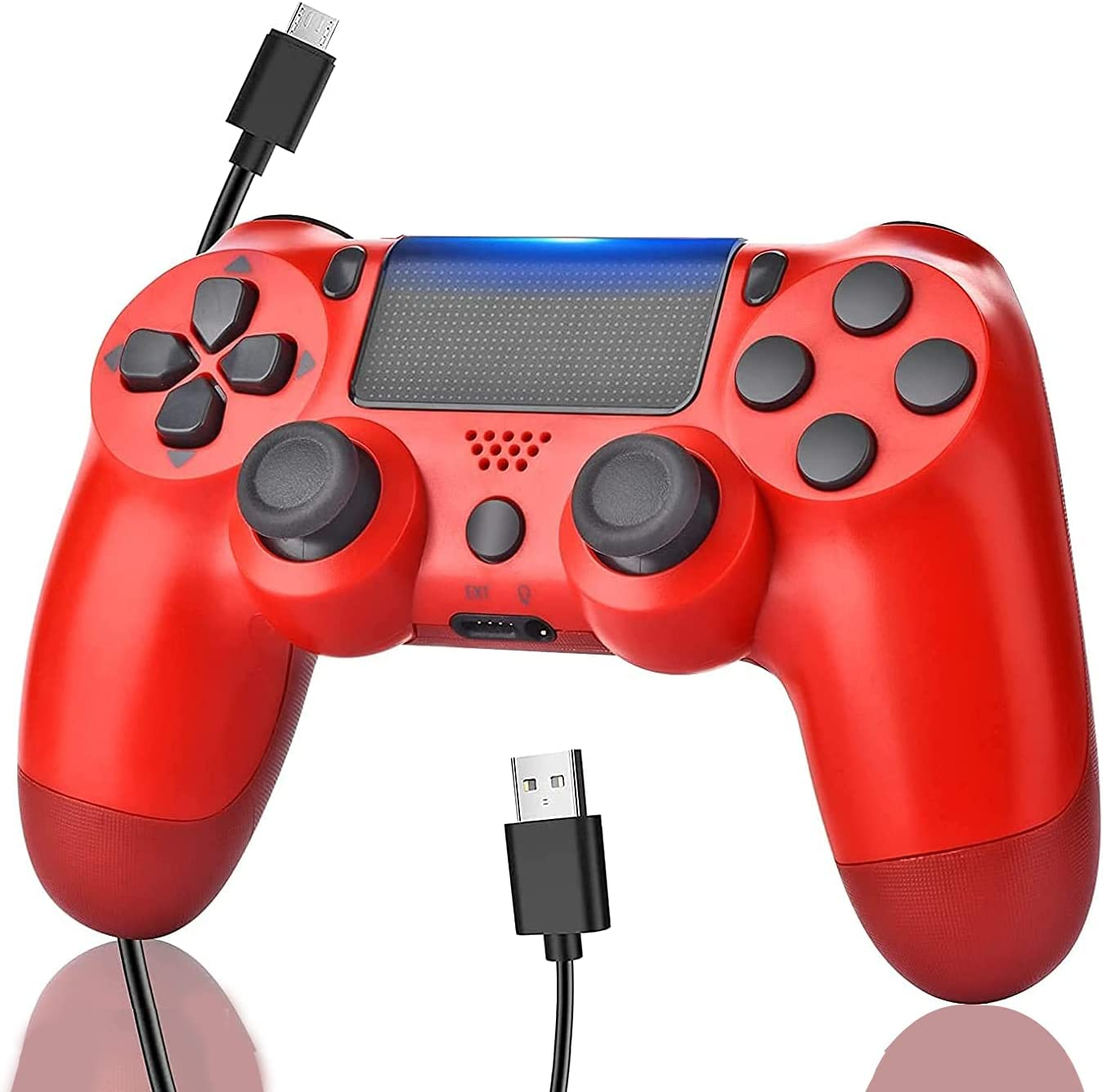 Wiv77 Wireless Remote Controller for P-5/P-4/Pro/PC, USB Charge Cable/800mAh Battery/Stereo Headset Jack/Two Motors-Red