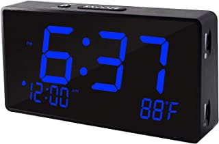 Digital Alarm Clock, Alarm Clocks for Bedrooms with USB Port for Charging, Adjustable Brightness Dimmer and Alarm Volume, 12/24Hr, Snooze, Temperature Display