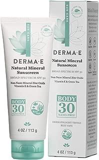 Derma e Antioxidante Natural Sunscreen SPF 30 loción corporal con vitamina C y té verde 4 oz