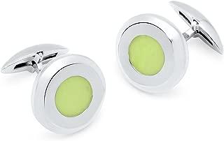 Zsamuel Mens Sterling Silver 925 Glow in Dark Round Cufflinks