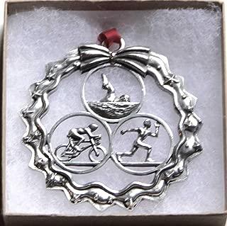 Dana Paige Designs Triathlon Ornament in Wreath Male - Handmade Triathlon Ornaments - Unique Holiday Triathlon Gift