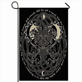 Ahawoso Outdoor Garden Flag 12x18 Inches Asgard Two Wolves Poetic Scandinavia Norse Hati Skoll Asatru Vintage Black White Celtic Draupnir Edda Seasonal Home Decor Welcome House Yard Banner Sign Flags