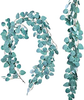 Anna Homey Decor Pack of 2 Artificial Garland Plants 4 Feet Greenery Vine Fake Hanging Eucalyptus Leaves Green Leaf Plant ...