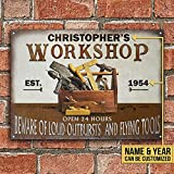 Personalized Carpenter Vintage Workshop Metal Sign Funny Gift for Men Women Friends Outdoor Living Rustic Decor