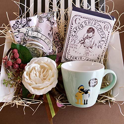 フラワーローズギフト(ショーンマグ&チョコレート&コーヒー)/セット、詰め合わせ/グレーラッピング (ミントグリーンマグ)