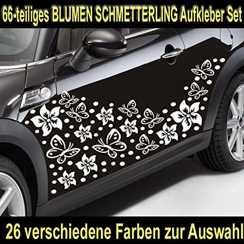 Baumgartner 66 Teiliges Hibiskus BlÜten Hawaii Blumen Schmetterlinge Auto Aufkleber Set Sb 002 010 Weiß Auto