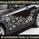 Baumgartner 66-teiliges Hibiskus BLÜTEN Hawaii Blumen Schmetterlinge Auto Aufkleber Set - SB_002 (010 weiß)
