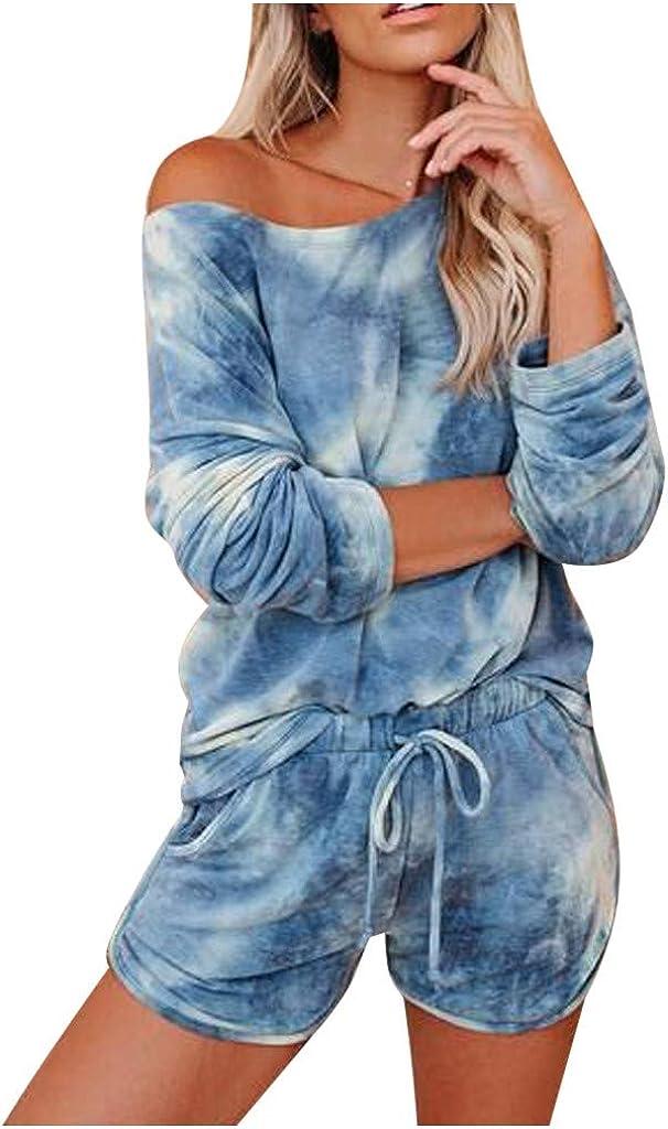Hessimy Pajamas for Women Shorts Set,Womens Pajamas Tie Dye Printed Long Sleeve Top Shorts Loungewear Nightwear Sleepwear