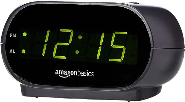 AmazonBasics Small Digital Alarm Clock With Nightlight And Battery Backup LED Display