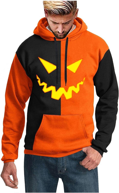 YUNDAN Halloween Hoodies for Mens Shirts Pumpkin Jacksonville Mall Long Face Ranking TOP16 Print