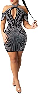 IyMoo Womens Sexy Club Dress Rhinestone Mesh Sheer See Through Bodycon Short Min