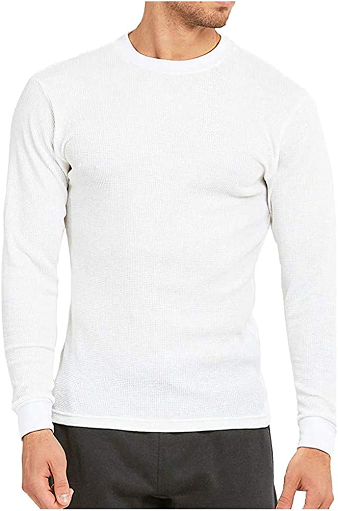 Men's Denver Mall Solid Color Max 74% OFF Round Neck Waffle W Autumn T-Shirt Sleeve Long