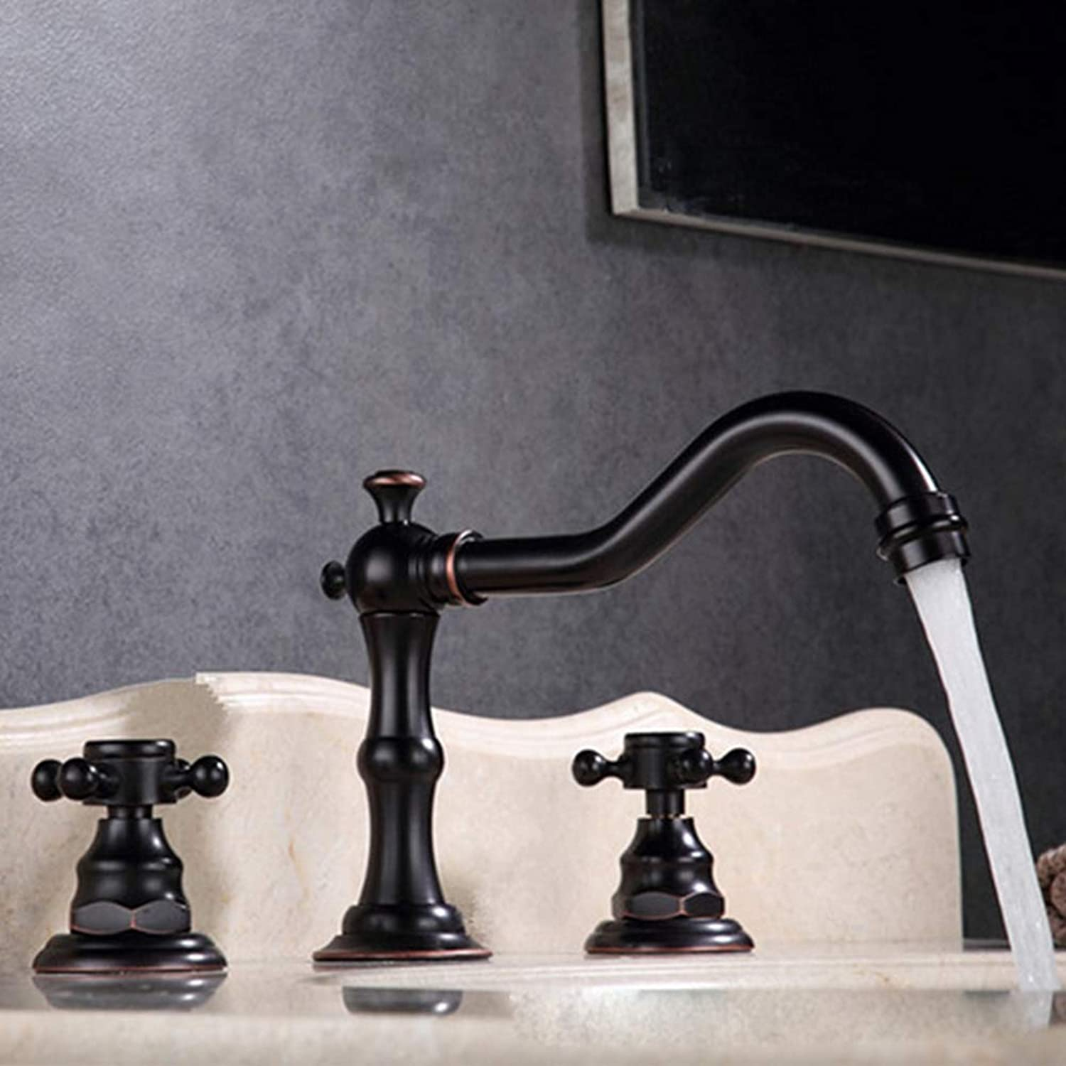 Bathroom Basin Faucet, All-Hole Split Basin Mixer, Hot and Cold Water