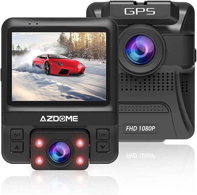 Cámara de Coche de Dual Lente Frontal Exterior HD 1080P y Trasero Interior 720P con GPS Dashcam Grabadora Dash CAM de Ángulo Amplio 170° con G-SensorDetección de MovimientoGrabación en Bucle