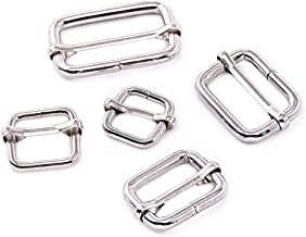 Swpeet 50 Pcs Metal Rectangle Adjuster Triglides Slides Buckle, Roller Pin Buckles Slider Strap Adjuster for Belt Bags DIY Accessories - 13mm/15mm/20mm/25mm/35mm