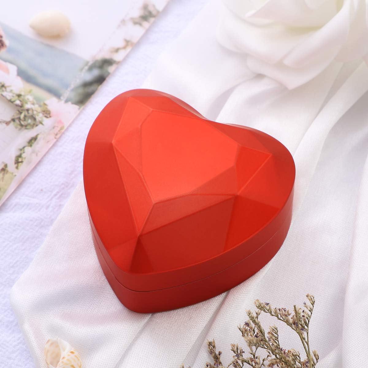 Rouge Garneck Led Allum/é en Forme de Coeur Bo/îte de Bague de Stockage Anniversaire de Mariage Saint Valentin