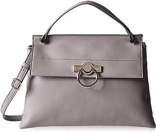 ناين وست حقيبة جلد للنساء - رمادي - حقائب بتصميم الاحزمة