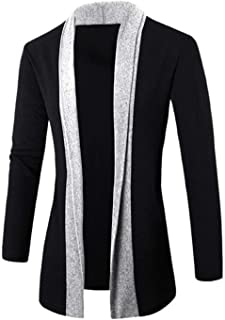 Knitted Cardigan Jacket Slim Casual Long Sleeve Patchwork Mid-Long Sweaters Coat