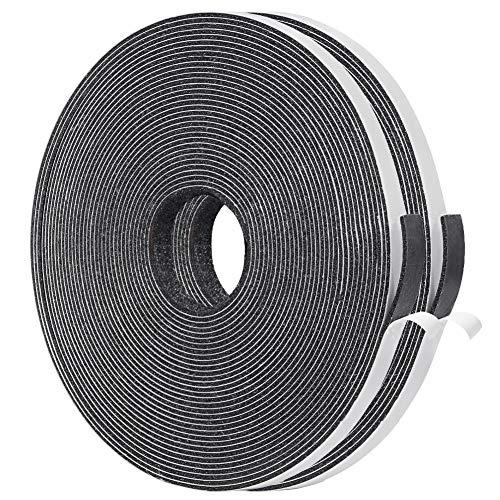 YoTacheドアすき間ふさぎ 防音戸当たりテープ フォーム絶縁テープ 緩衝材 スポンジ 発泡ゴム 雨防止 6mm (幅) x 1.5mm (厚さ) x 5m (長さ) x 2本