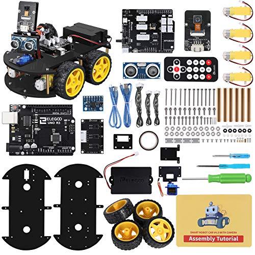 ELEGOO UNO R3 Kit de Coche Robot Inteligente V4.0 Compatible con Arduino IDE con Módulo de Seguimiento de Línea, Sensor Ultrasónico, Módulo IR, Kit Robótico Coche Educativo Stem para Niño, Adulto
