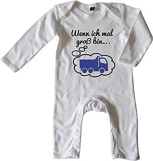 Mikalino Baby Schlafanzug Wenn ich mal groß Bin. LKW Schwarz-blau Print