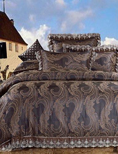GAOHAIFQ®,Costume de quatre pièces,l'impact de la literie de forage profond housse de couette maron drap de lit couette soyeuse chaud et doux pour 4pcs maison reine king, queen
