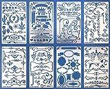 Aleks Melnyk #42 Metal Journal Stencils/Ornament, Dividers, Banner/Stainless Steel Stencils Kit 8 PCS/Templates
