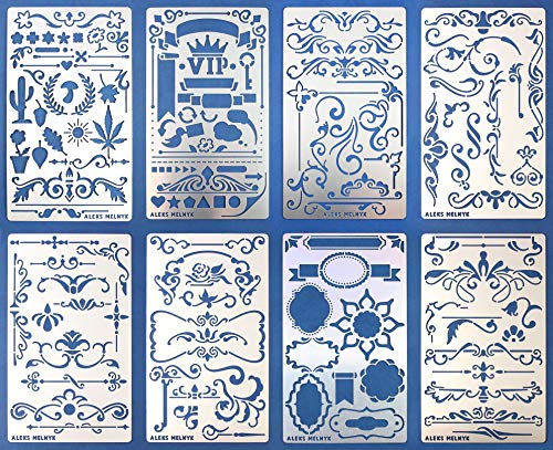 Aleks Melnyk #42 Schablonen/Metall Stencils Vorlagen for Painting/Shabby Chic Vintage, Ornamente/Set 8 Stück/DIY Kunst Projekte/Stencil für Scrapbooking und Zeichnen/Brandmalerei Schablone/Basteln