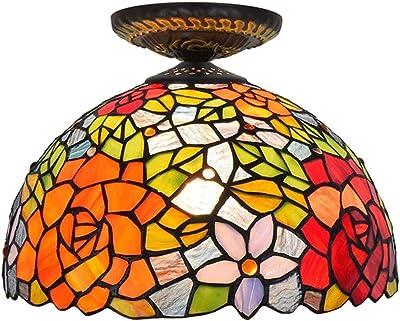 Amazon.com: Lámpara de techo estilo Tiffany LED redonda para ...