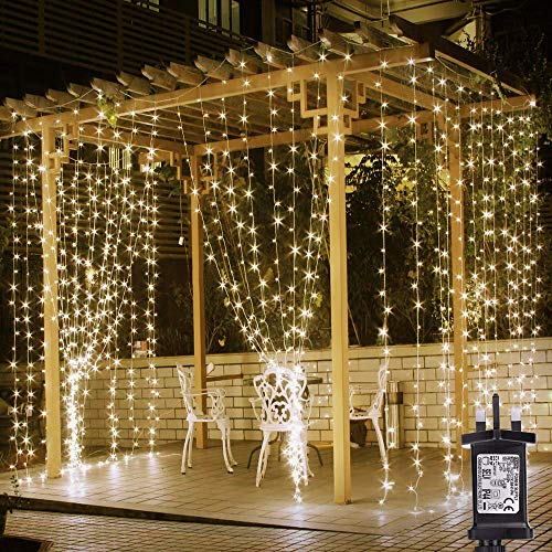 PRO 306 D Cortina Luces de hadas enchufe, 3M x 3M Luces de Navidad blancas cálidas, 8 modos Luces de cadena Pasadas eléctricas para exteriores al aire libre, Gazebo de jardín, Pérgola, Fiesta de bodas