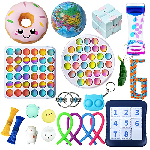 Gmajdar Fidget Toys Pack Tie Dye Push Pop Bubble Simple Dimple Squishy Stress Relief Anti-Anxiety Sensory Toys Set for Kids Adult