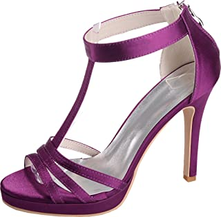 Vimedea Womens Platform T-Strap Heeled Sandals Wedding Bride Open Toe Satin NX5915-14