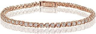 Hoops & Loops Sterling Silver Cubic Zirconia 2mm Round-Cut S Design Tennis Bracelet