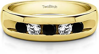 TwoBirch Sterling Silver Wide Channel Set Men's Ring with Open End Design With Black And White Cubic Zirconia(0.75Ct.)