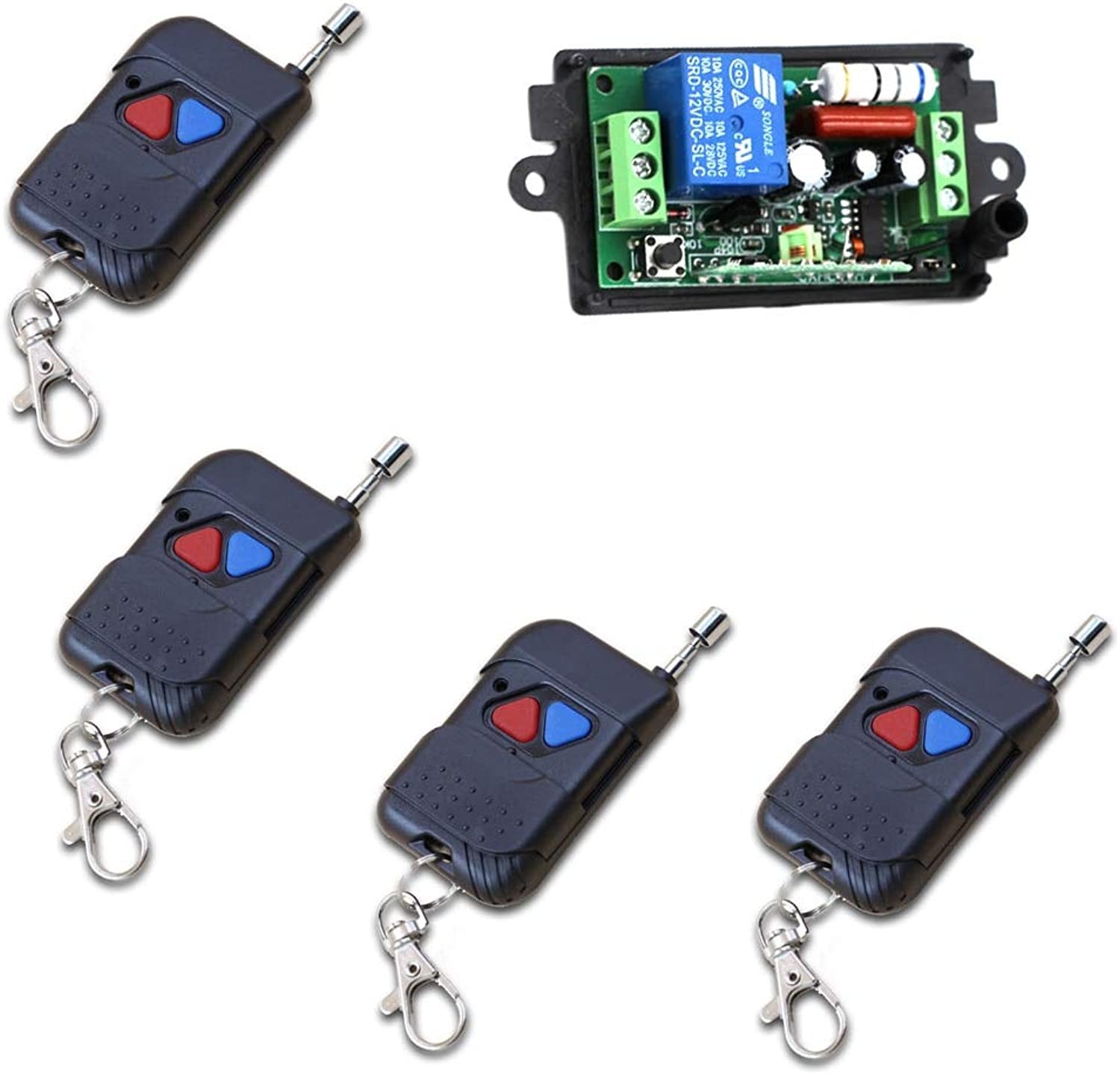 New 220V 110V 1CH Radio Controller RF Wireless Relay Remote Control Switch 315 433 MHZ Teleswitch 4 Transmitters +1 Receiver  (color  220V 433MHZ)