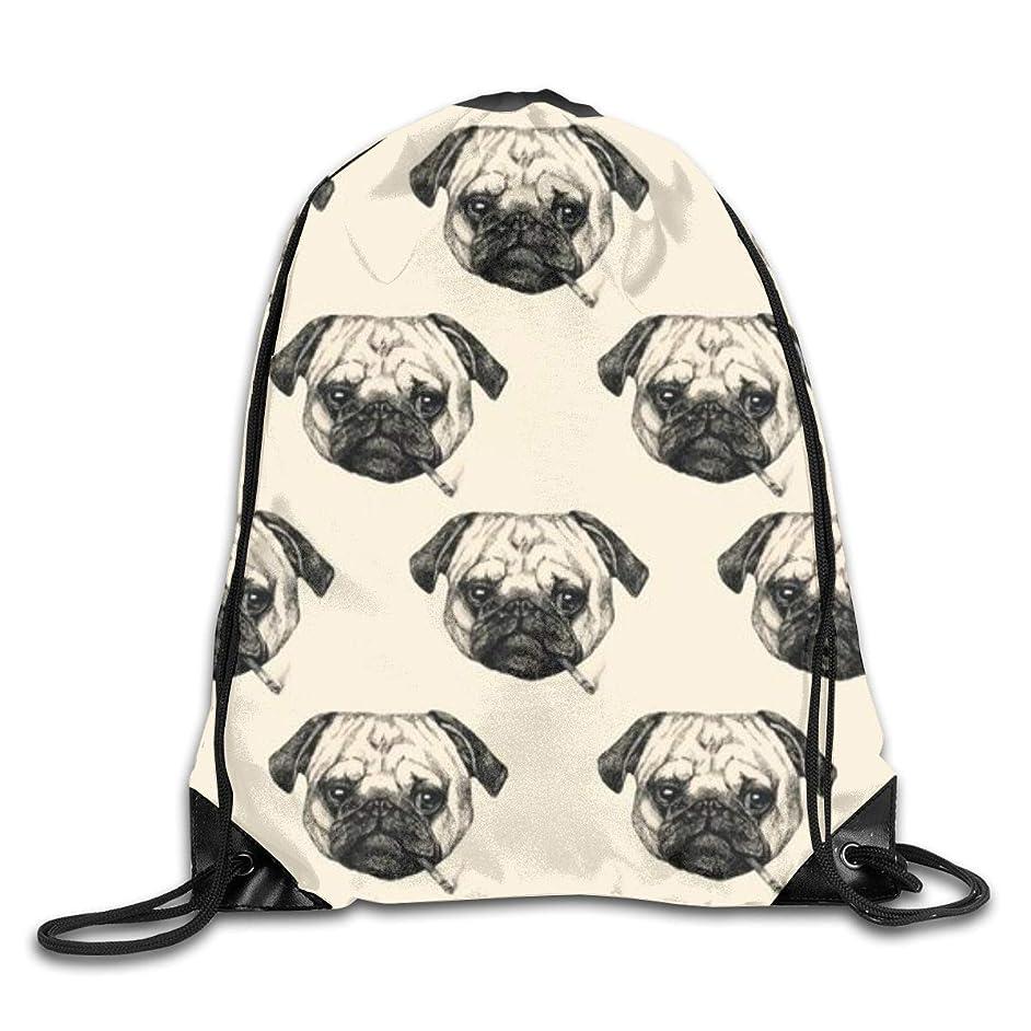 Smoking Bulldog Men & Women Sport Gym Sack Dancing Bag Drawstring Backpack For Beach Hiking Travel Bags