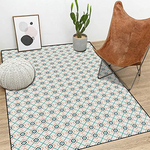 chuanglanja Home Carpet Crystal Velvet Non-Slip Carpet Thick Geometric Floor Mat-B_80X120Cm