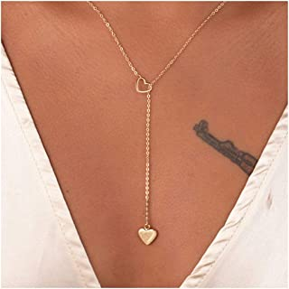 ArtMiss Heart Gold Y-Necklace Delicate Lariat Chain Circle Pendants Bar Necklace Jewelry Choker للنساء