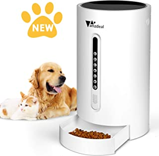 amzdeal Automatic Cat Feeder Dog Feeder Cat Food Dispenser with Programmable Meal Size and Time, 4 Meals per Day, Suitable for Dog and Cat