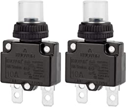 Circuit Breaker,DIYhz Thermal Overload Circuit Breaker 88 Series 10A 32V DC 125/250VAC 50/60Hz Push Button Circuit Breaker Reset Boot Switch and Waterproof Button Transparent Cap 2 Pcs