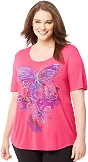 Just My Size womens Plus-Size Short-Sleeve Scoop-Neck Graphic T-Shirt (J350)