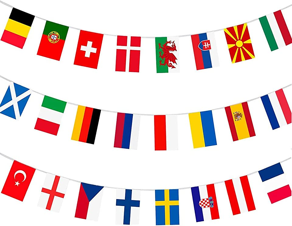 WIllTAO 2021 EURO Football Championship Fabric Bunting,All European 24 Participating Teams Flags Bunting for Garden, Bar, Restaurant and Party Decoration (20x28cm-8.5m)