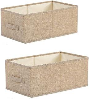 Onlyup Lot de 2 paniers de rangement pliables en tissu pour penderie, vêtements, livres, jouets cosmétiques (beige, 29 x 4...