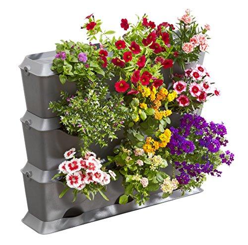 Gardena NatureUp Set Básico 9 Plantas para Plantar un jardín Balcones, terrazas y Patios Cont: 3 jardineras Verticales, 3 Cubiertas, 1 Placa de Base, 12 Clips Kit, Gris, 30.1x21.7x66.3 cm